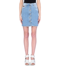 Msgm Gonna Button Down Denim Skirt Blue