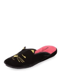 Patricia Green Wink Kitty Velvet Slippers Black