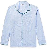 Sleepy Jones Henry End On End Cotton Pyjama Shirt Sky Blue