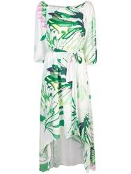 Josie Natori Palm Print Asymmetric Dress White