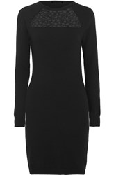 Autumn Cashmere Lace Trimmed Cashmere Mini Dress Black