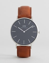 Daniel Wellington Classic Black St Mawes Leather Watch With Silver Dial 40Mm Brown