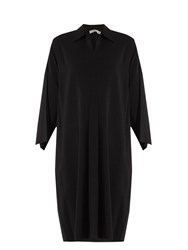 Vince Point Collar Stretch Crepe Dress Black