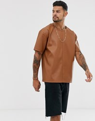 Another Influence Pu Faux Leather T Shirt Brown