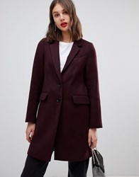 Warehouse Single Breasted Coat In Berry Navy