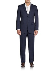 Tommy Hilfiger Slim Fit Fine Striped Wool Suit Mid Blue