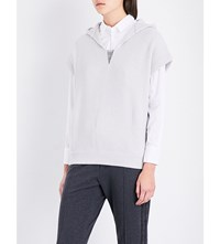 Brunello Cucinelli Chain Embellished V Neck Cashmere Hoody Salt