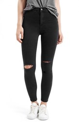 Petite Women's Topshop 'Joni' Destroyed Moto Jeans Black