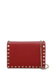 Valentino Garavani Rockstud Embellished Leather Pouch Red