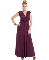 Love Squared Plus Size Sleeveless Knotted Maxi Dress Wine