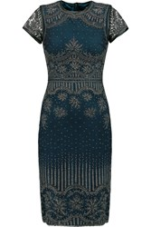 Catherine Deane Carlotta Leather Trimmed Tulle And Silk Satin Dress Blue