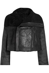 Rick Owens Shearling Jacket With Quilted Sleeves Black