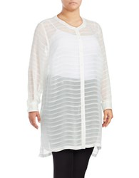 Vince Camuto Plus Sheer Embroidered Stripe Tunic New Ivory