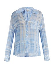 Diane Von Furstenberg Patch Pocket Crepe Shirt Blue White