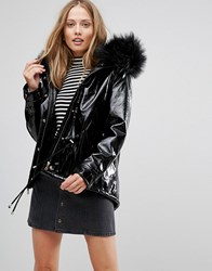 Amy Lynn Parka With Faux Fur Hood Black