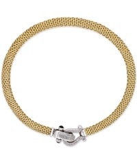 Macy's Diamond Horseshoe Clasp Mesh Necklace 5 8 Ct. T.W. In 14K Gold Plated Sterling Silver Yellow Gold