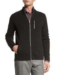 Kiton Full Zip Cashmere Sweater Charcoal Grey