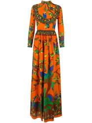 Gucci Floral Print Gown Yellow Orange