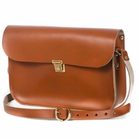 N'damus London Tan Leather 11 Inches Mini Satchel Brown