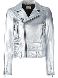 Saint Laurent Metallic Grey Biker Jacket