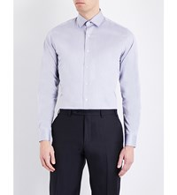 Duchamp Patterned Tailored Fit Cotton Twill Shirt Grey