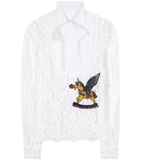 Dolce And Gabbana Crystal Embellished Lace Blouse White