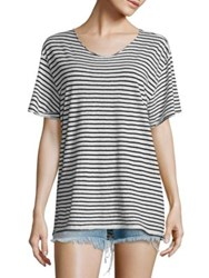 R 13 Striped Rosie T Shirt Black White