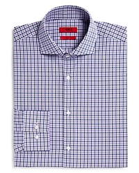 Hugo Meli Medium Check Windowpane Overcheck Sharp Fit Regular Fit Dress Shirt Purple