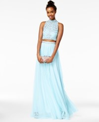 Say Yes To The Prom Juniors' 2 Pc. Rhinestone A Line Gown A Macy's Exclusive Baby Blue