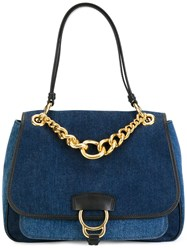 Miu Miu Chain Detail Tote Blue