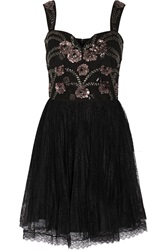 Marchesa Notte Embellished Tulle And Lace Mini Dress