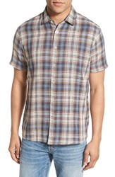 Singer Sargent Men's Singer Sargant Regular Fit Short Sleeve Double Cloth Plaid Sport Shirt