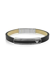 Emporio Armani Stainless Steel Signature Men's Bracelet Black