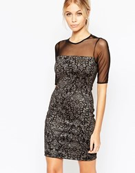 Hedonia Eliza Flocked Bodycon Dress With Sheer Sleeves Flock Black