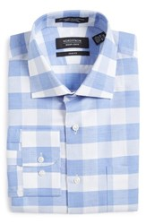 Nordstrom Men's Big And Tall Men's Shop Trim Fit Check Linen And Cotton Dress Shirt Blue Grapemist