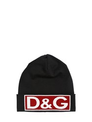 Dolce And Gabbana Logo Intarsia Wool Beanie Hat Black