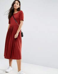 Asos Pleated Midi Dress Rust Brown