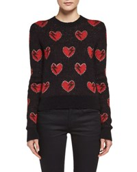 Saint Laurent Long Sleeve Heart Sweater Black Red Black Red