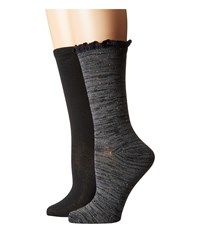 Steve Madden 2 Pack Heather Lace Cuff Dark Grey Black Women's Crew Cut Socks Shoes Gray