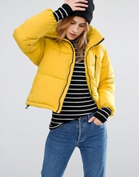 New Look Padded Boxy Jacket Bright Yellow