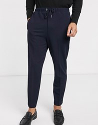 Rudie Elasticated Cropped Tapered Jersey Trousers Navy