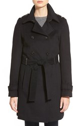 Women's Calvin Klein Wool Blend Trench Coat Black