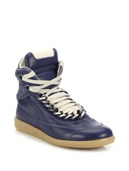 Maison Martin Margiela Future Chained Leather High Top Sneakers Dark Blue