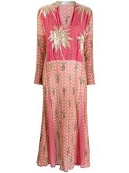 Ailanto Embellished Palm Tree Dress Pink
