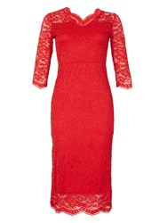 Feverfish Lace Scallop V Neck Dress Red