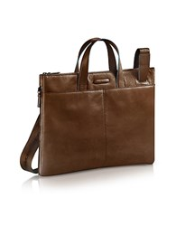 Piquadro Blue Square Expandable Leather Business Bag Dark Brown