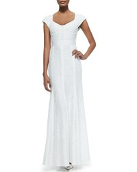 Diane Von Furstenberg Maio Cap Sleeve Lace Mermaid Gown Women's White