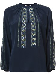 Vanessa Bruno Floral Embroidered Panels Blouse Silk Polyester Blue
