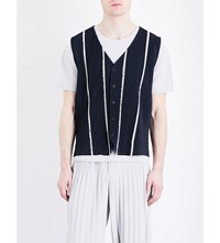 Homme Plisse Issey Miyake Striped Pleated Woven Waistcoat Navy