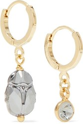 Isabel Marant Vedette Gold And Silver Tone And Crystal Earrings One Size
